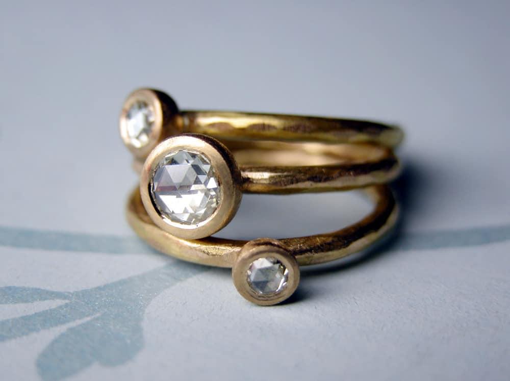 Rose Cut Diamond Stacking Rings Rose Cut Diamond Stacking Rings
