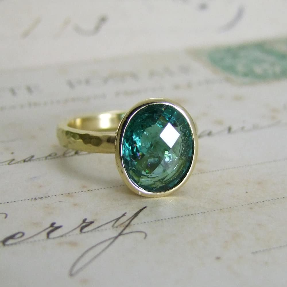 Teal Blue Tourmaline Ring