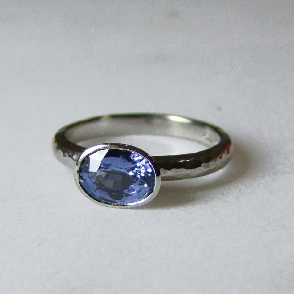 Oval Blue Sapphire Palladium Ring