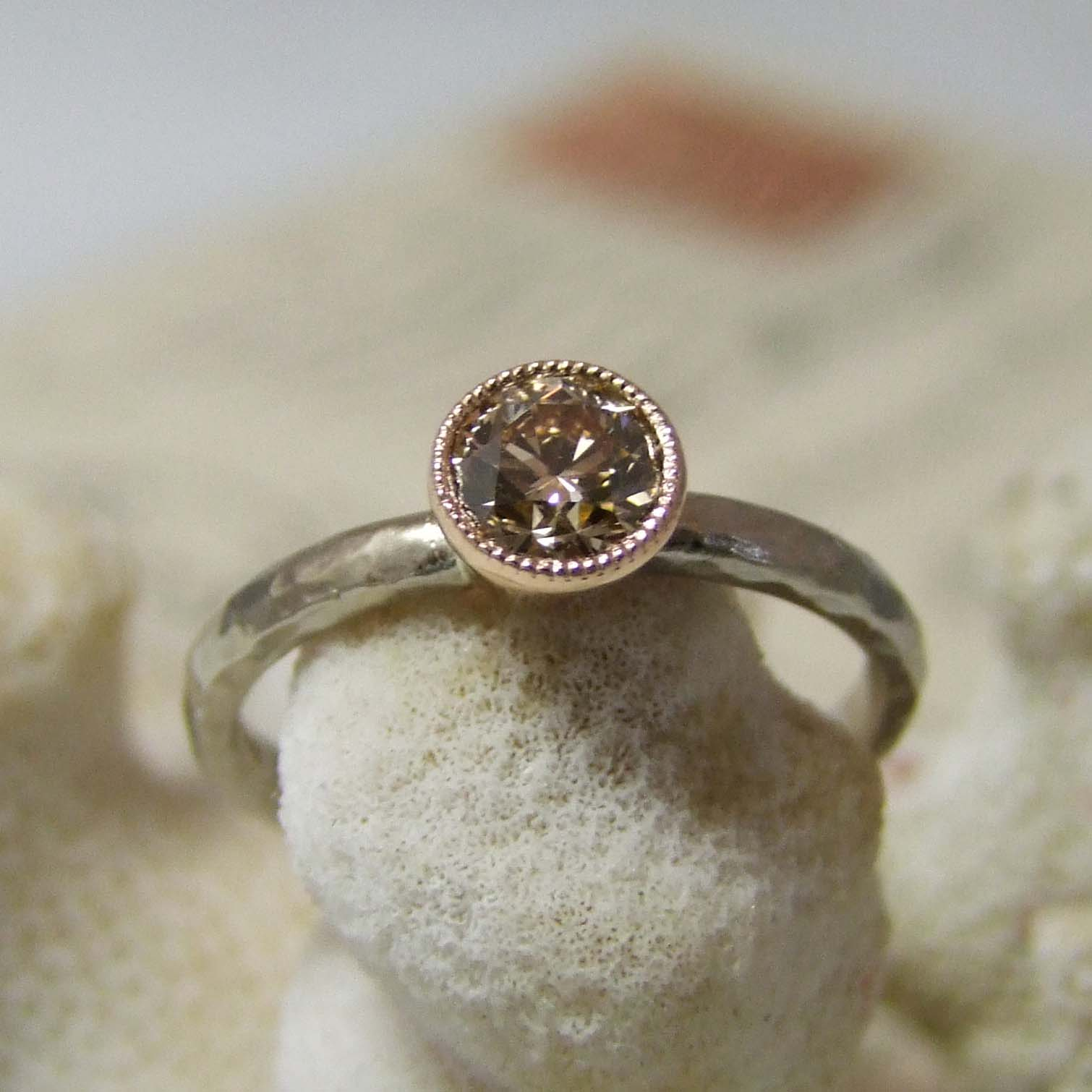Cinnamon Diamond Rose And White Gold Ring