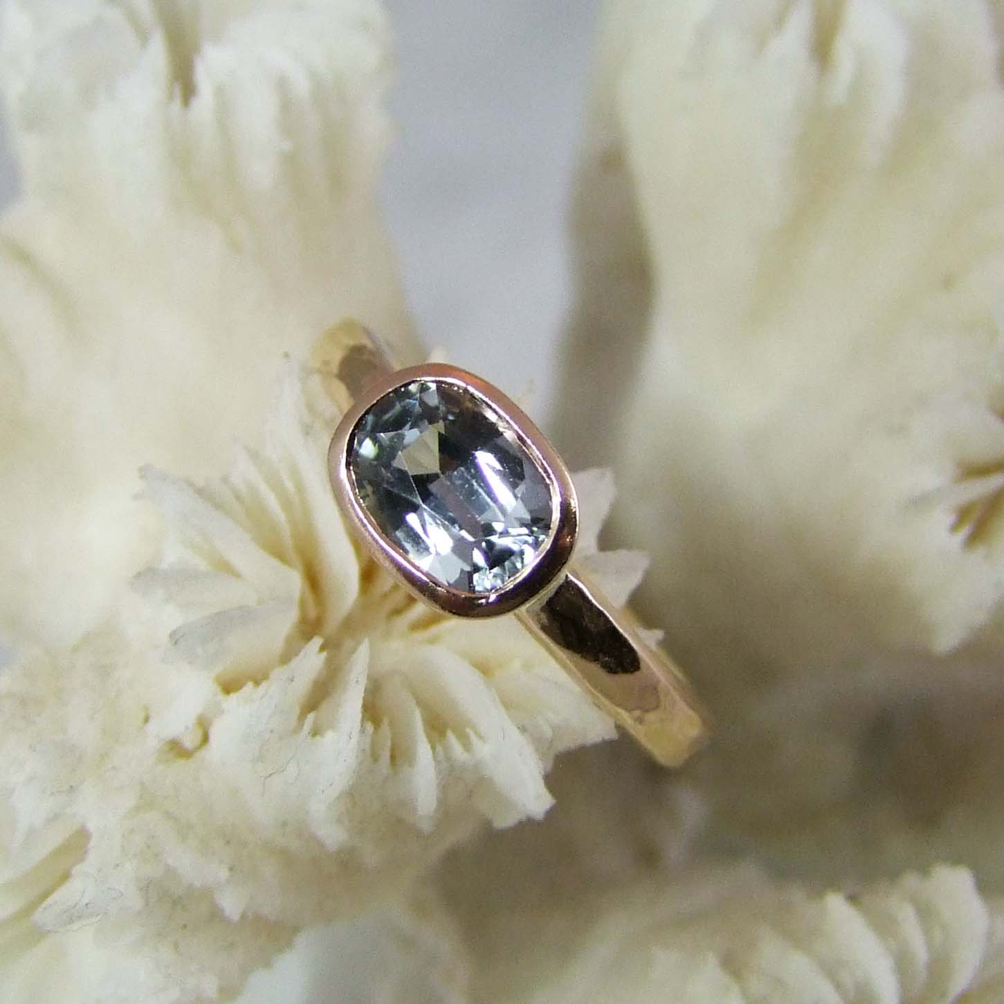 Cushion Shape Sapphire Rose Gold Ring