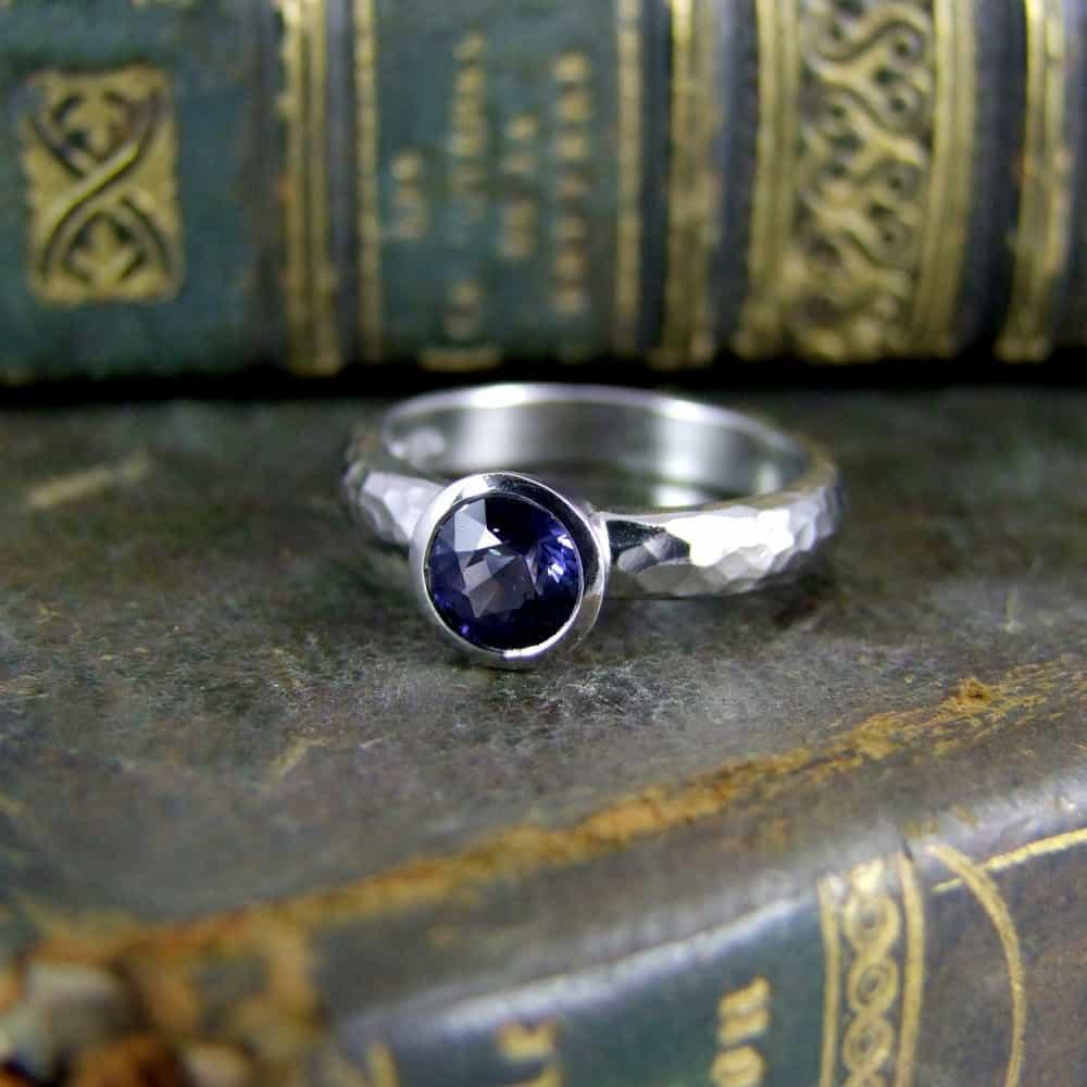 Blue Sapphire & Palladium Ring
