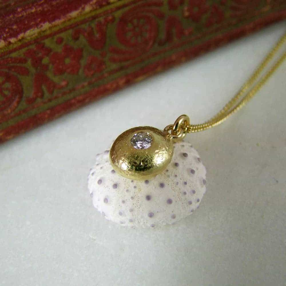 Handmade Pebble Pendant Using Customers Own Gold and Diamond