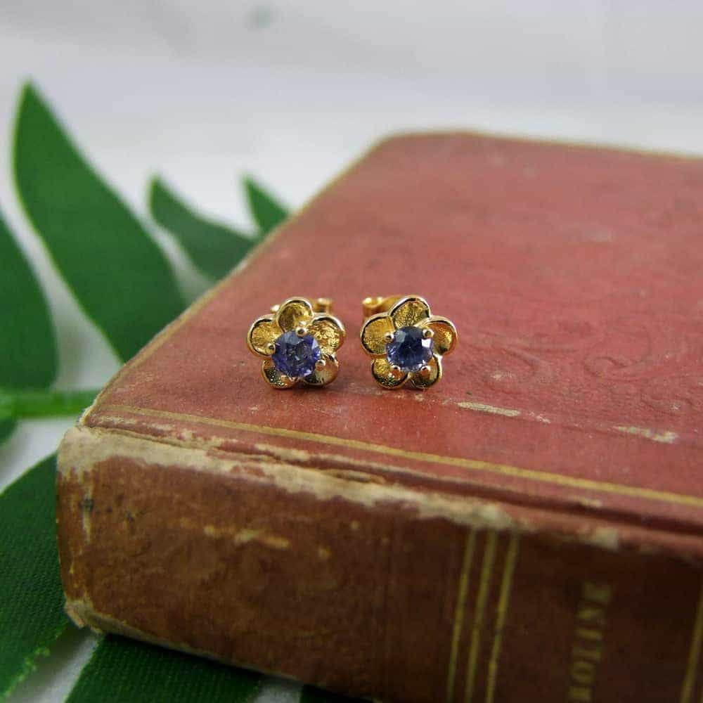 Frangipani Earrings with Blue Sapphires