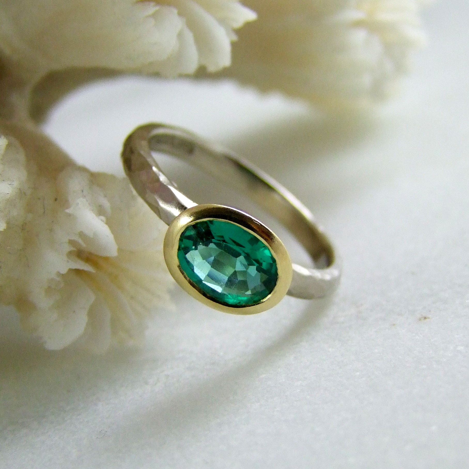 White And Yellow Gold Handmade Emerald Ring