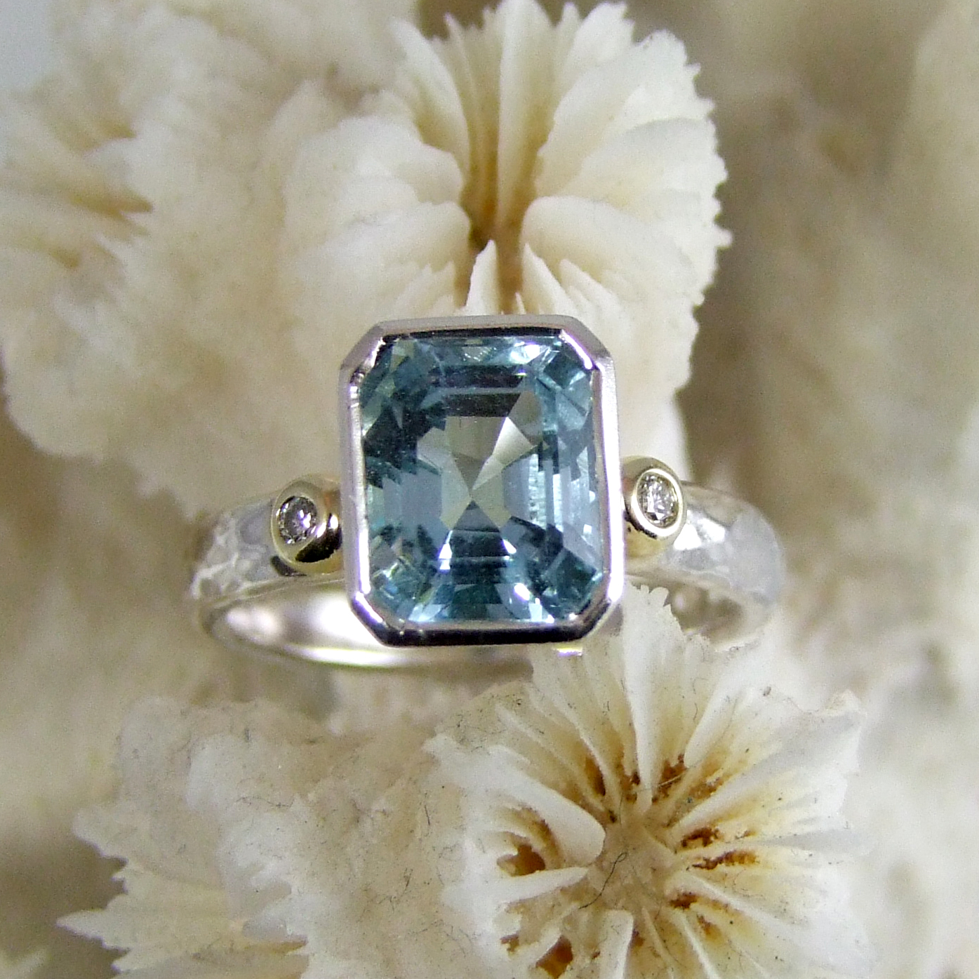 Re-modelled Aquamarine Diamond Ring