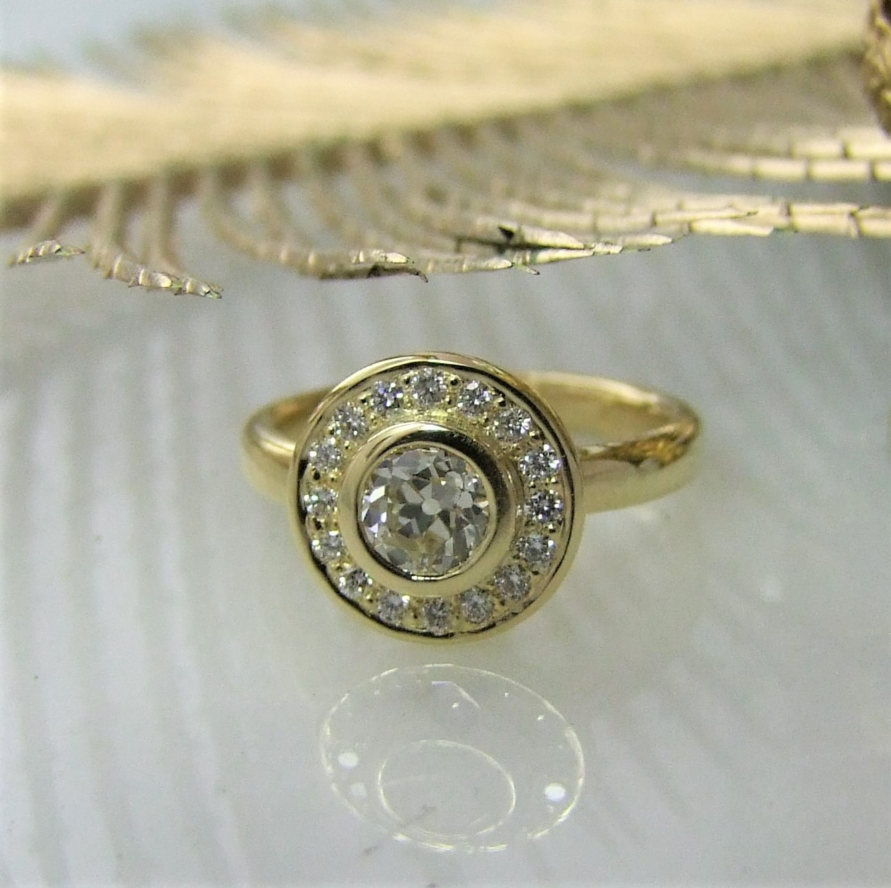 Old Mine Cut Diamond Halo Ring