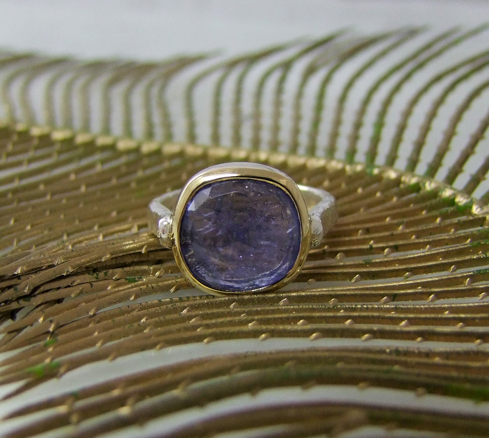 Tanzanite Rose Cut Silver And Gold Ring