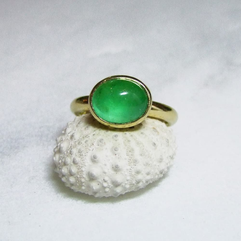 Cabochon Emerald Yellow Gold Ring