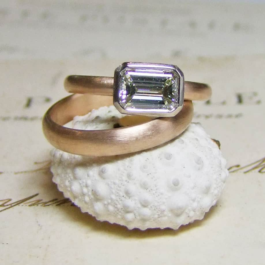 Emerald Cut Diamond Rose Gold Diamond Ring