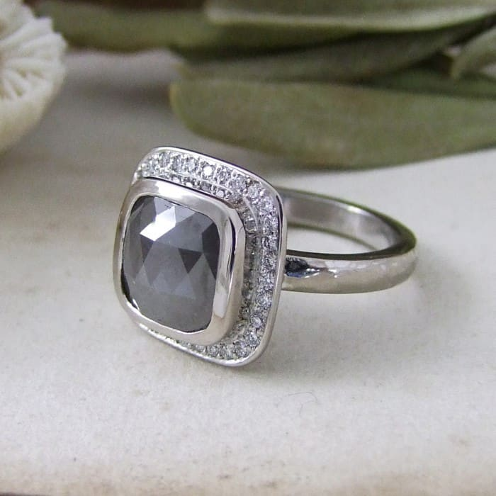 Grey Rosecut Diamond Halo