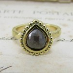 Grey Pear Shape Diamond Engagement Ring