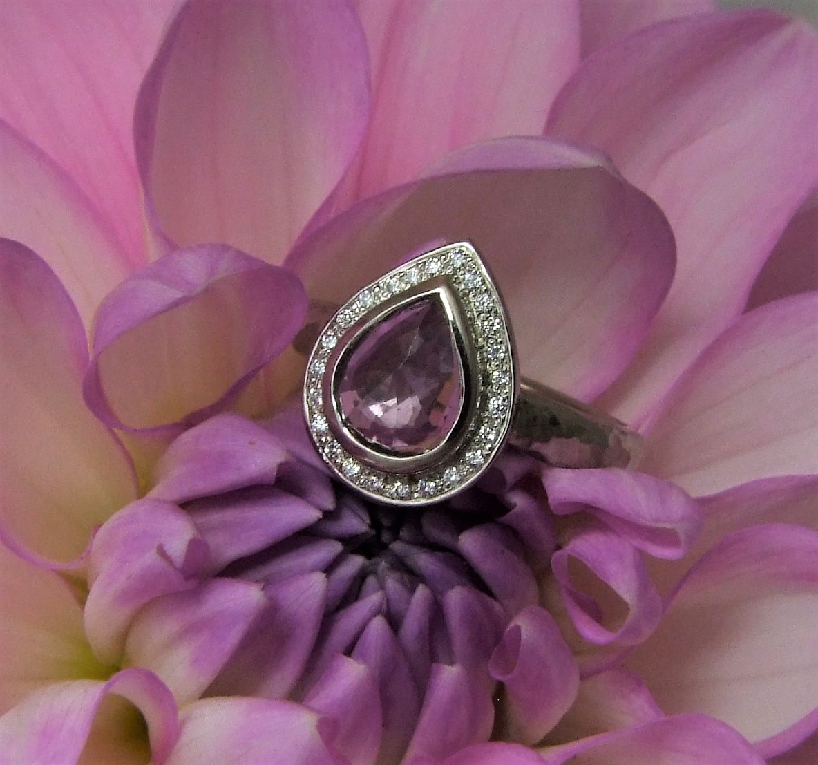 Lilac Sapphire Halo Ring