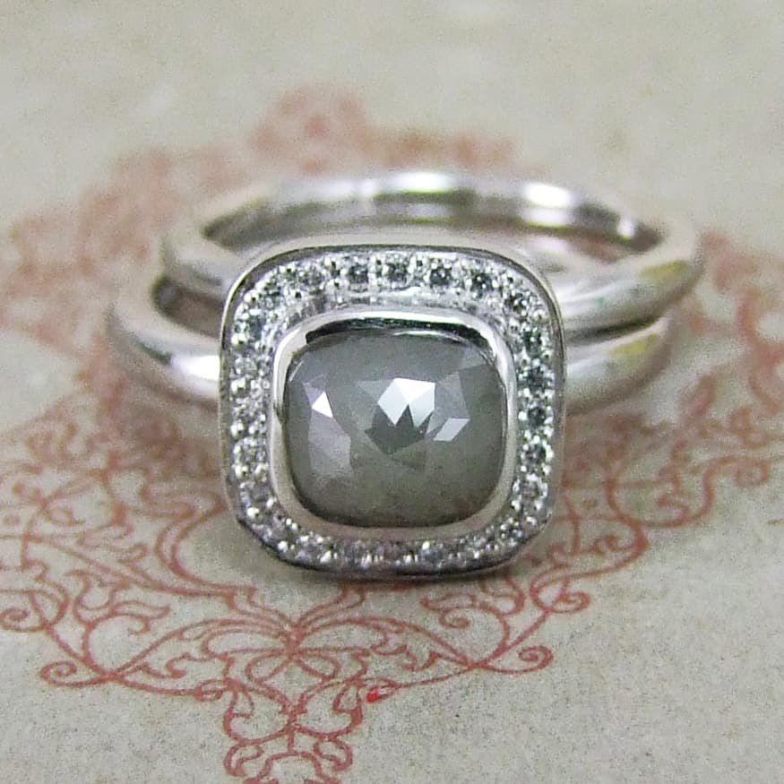 Platinum Rose Cut Diamond Halo Ring