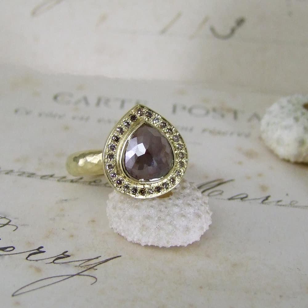 Handmade Cinnamon Diamond Yellow Gold Halo Ring