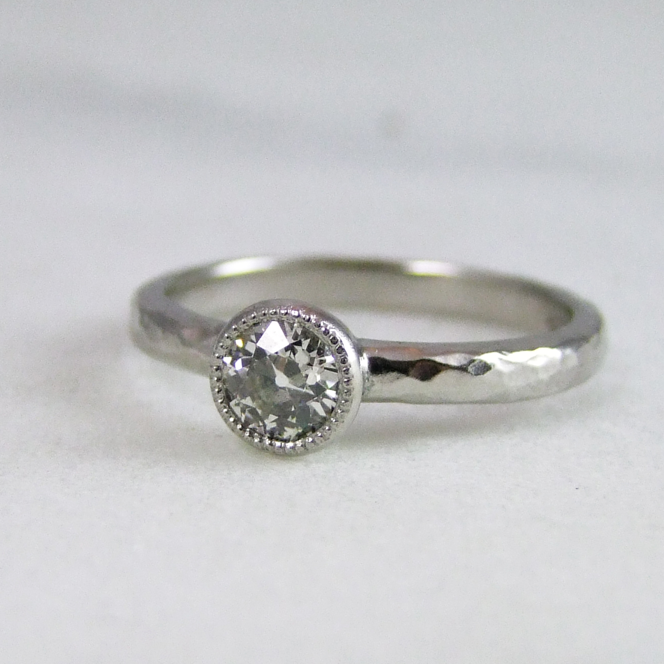 Handmade Old Mine Cut Diamond And Platinum Millegrain Ring