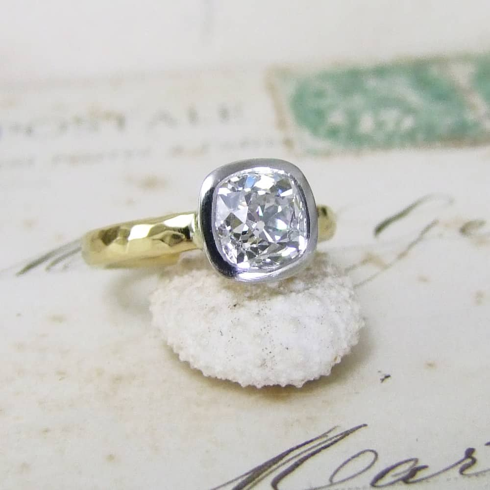 Cushion Shape Old Mine Cut Diamond Ring