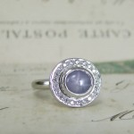 Pale Blue Star Sapphire Halo Ring