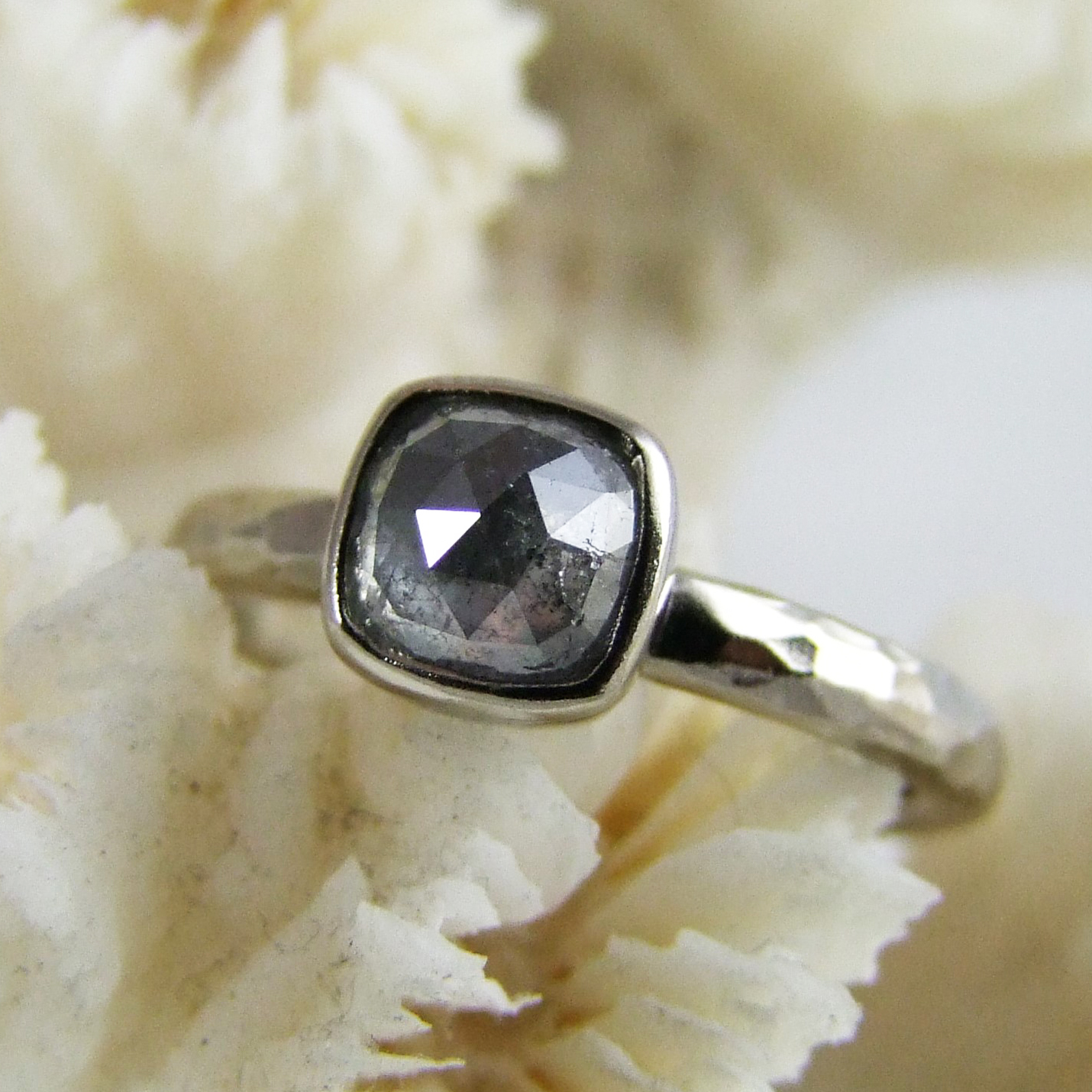 Grey Rose Cut Diamond Ring