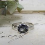 Grey Spinel Palladium Ring