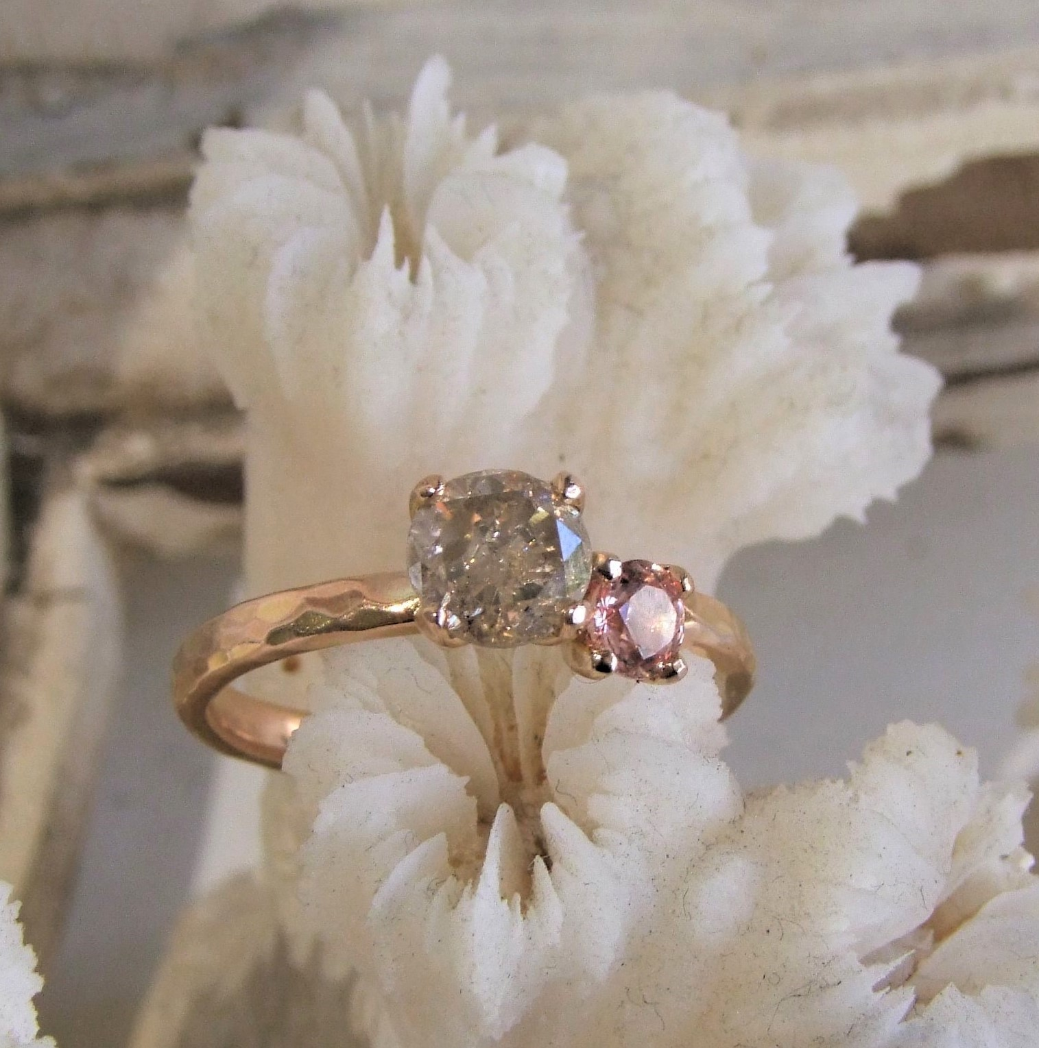 Peach Sapphire Salt And Pepper Diamond Ring