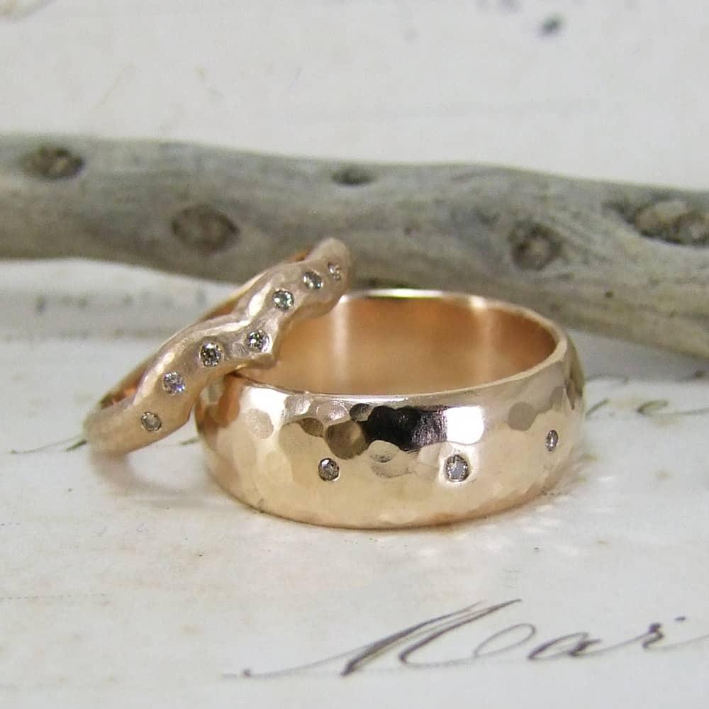 Rose Gold Cinnamon Diamond Rings