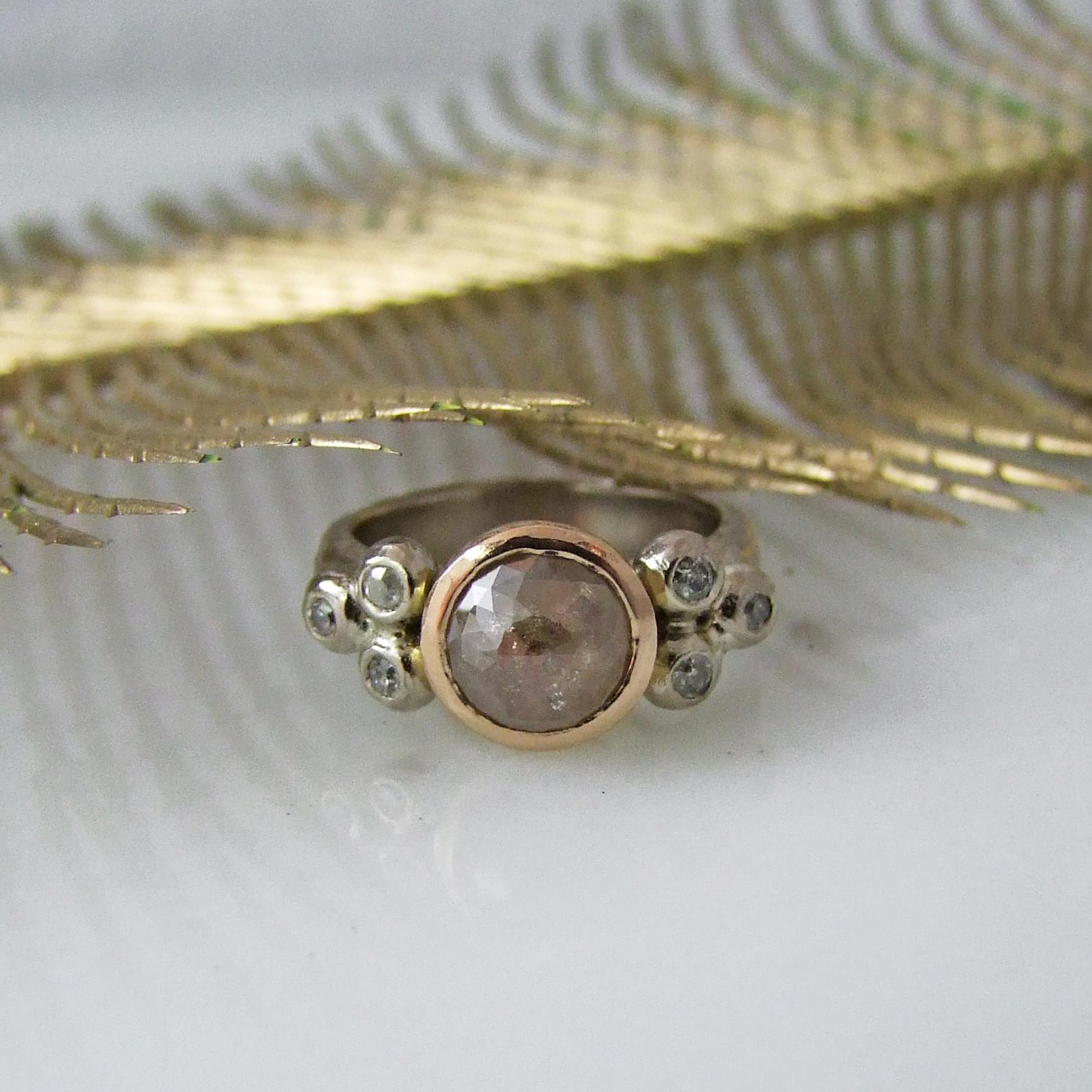 Sacred Heart Rose Cut Diamond Ring