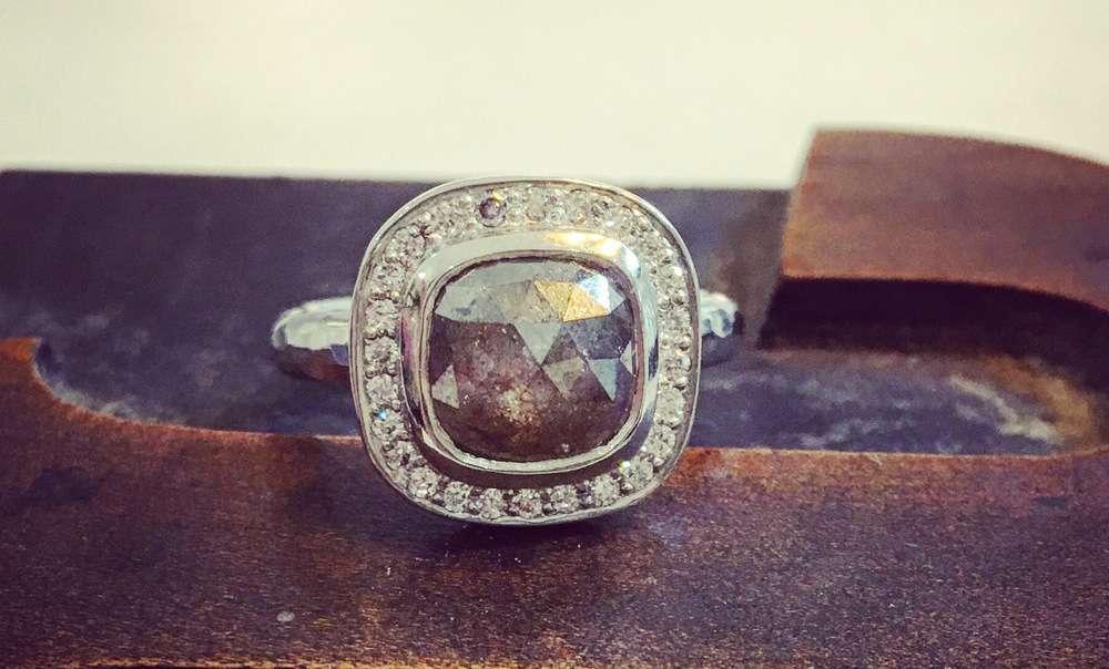 Salt And Pepper Rose Cut Diamond Halo Ring