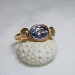Grey Blue Sapphire Cinnamon Diamond Ring