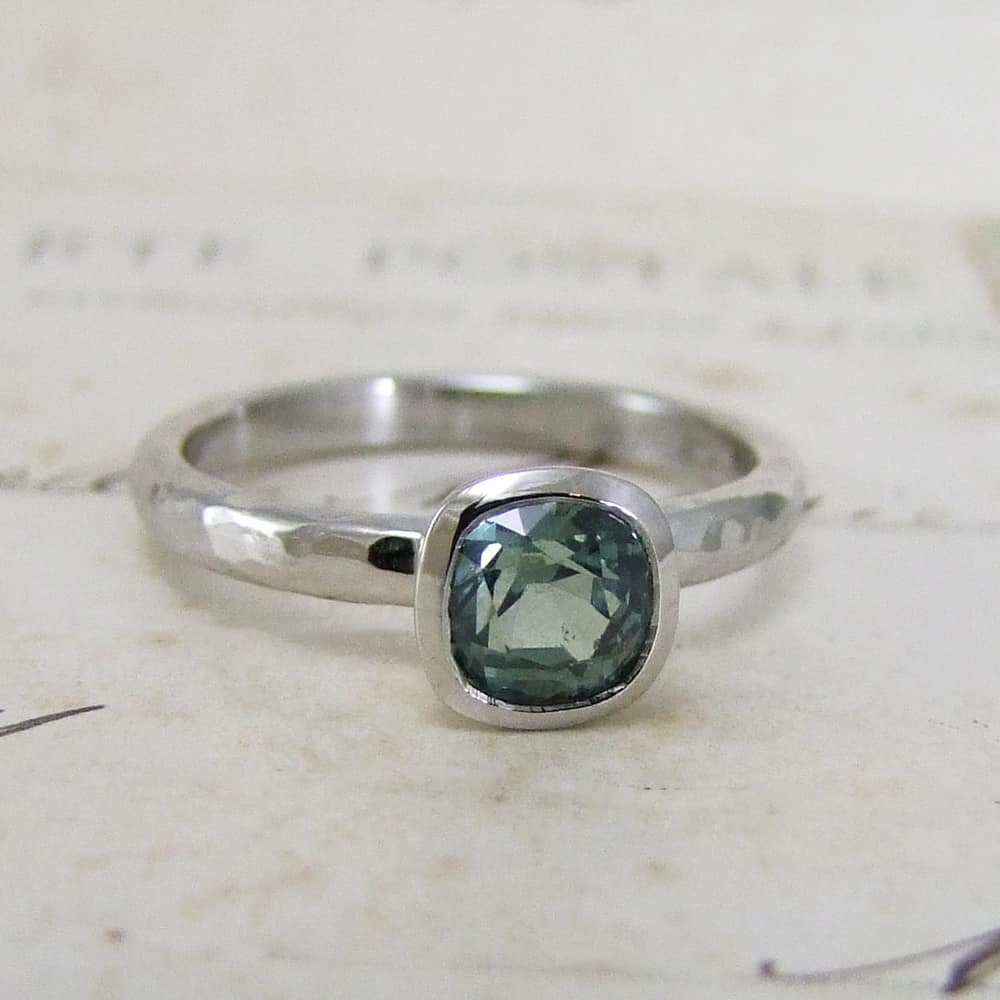 Teal And Platinum Sapphire Engagement Ring