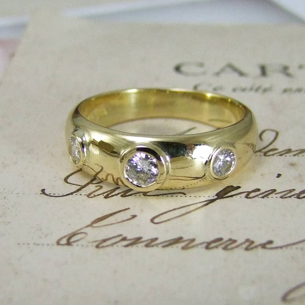 Three Stone Old Cut Diamond Ring