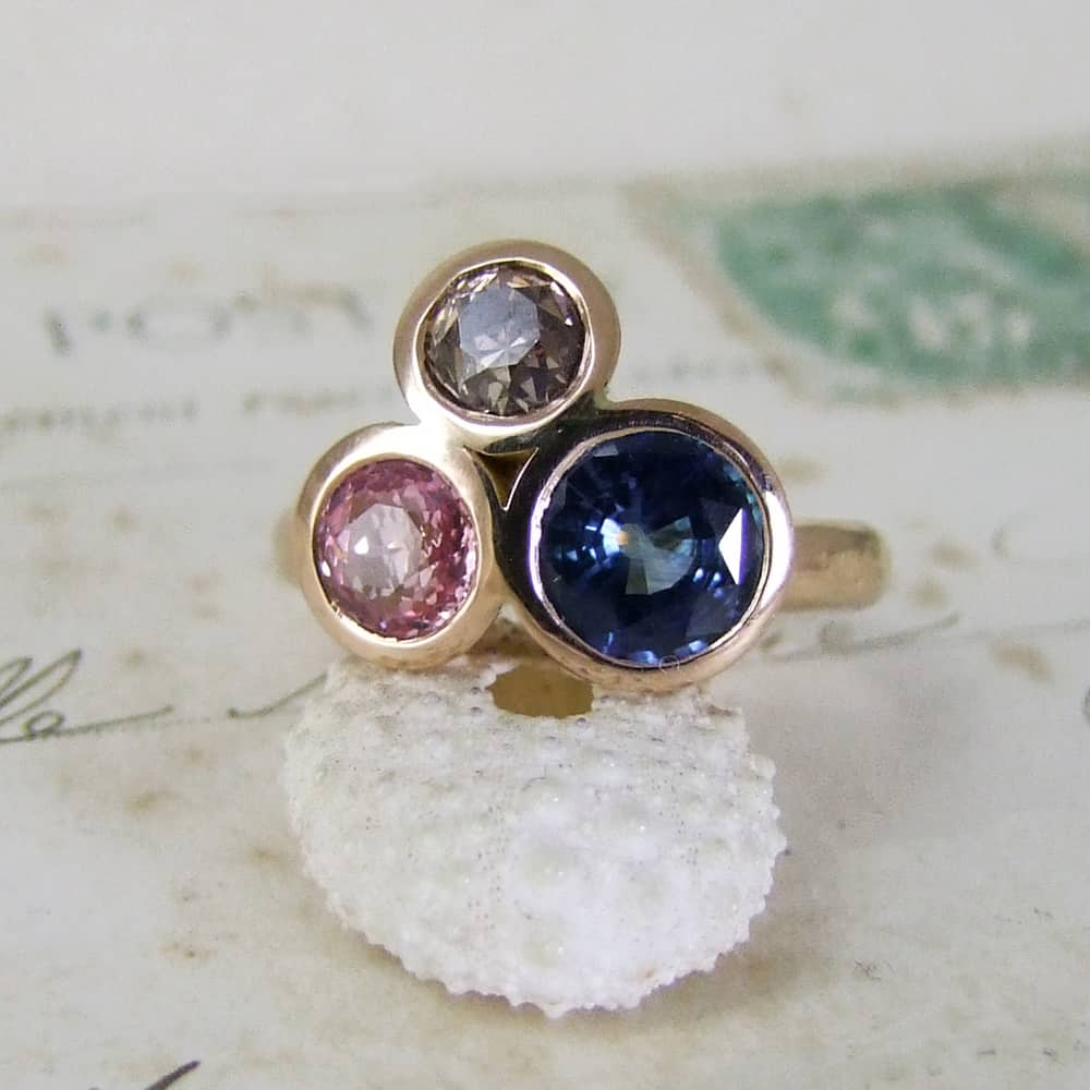 Unusual Sapphire Diamond Engagement Ring