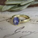 Natural Blue Sapphire & Beaten Gold Amara Ring