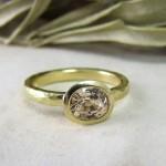 Unique Peach Sapphire Engagement Ring