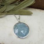 Rose Cut Aquamarine & Silver Bespoke Pendant