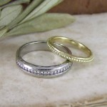 His & Hers Beaded Unusual Wedding Rings