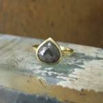 Charcoal Rose cut Diamond Engagement Ring