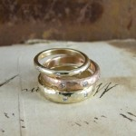 Diamond Set Beaten Gold Wedding Rings