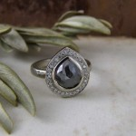 Charcoal Rosecut Pear Shape Diamond Halo Ring