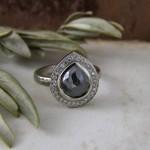 Charcoal Rosecut Pear Shape Diamond Halo Ring