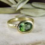 Green Tourmaline Unusual Engagement Ring