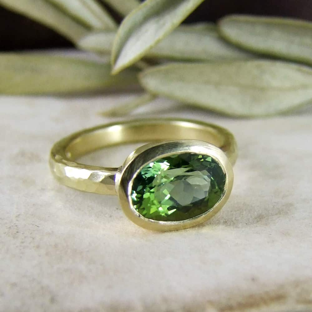 Green Tourmaline Unusual Engagement Ring