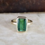 Green Tourmaline Emerald Cut Coctail Ring
