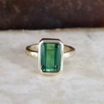 Green Tourmaline Emerald Cut Coctail Ring