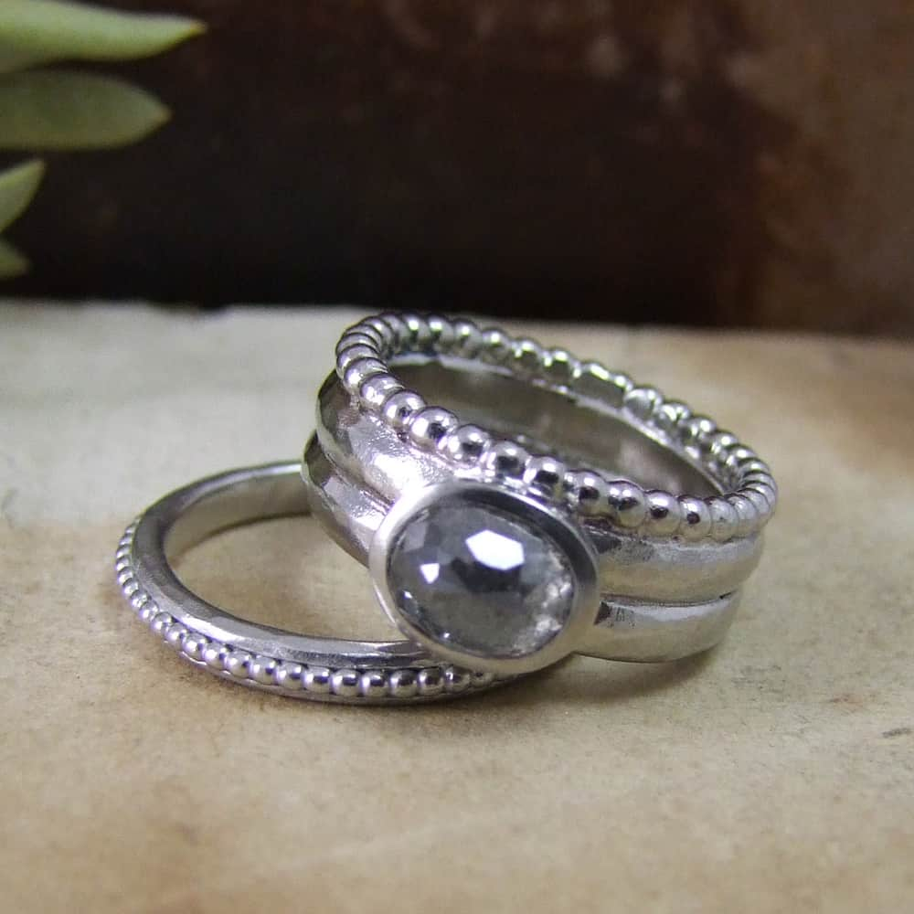 Grey Rosecut Beaten Engagement & Wedding Rings