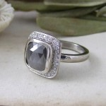 Grey Rose cut Diamond Halo Engagement Ring