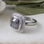 Grey Rose cut Diamond Halo Engagement Ring