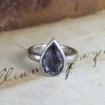 Grey Sapphire Rose Cut Unusual Engagement Ring