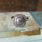 Rosecut Diamond Halo Ring