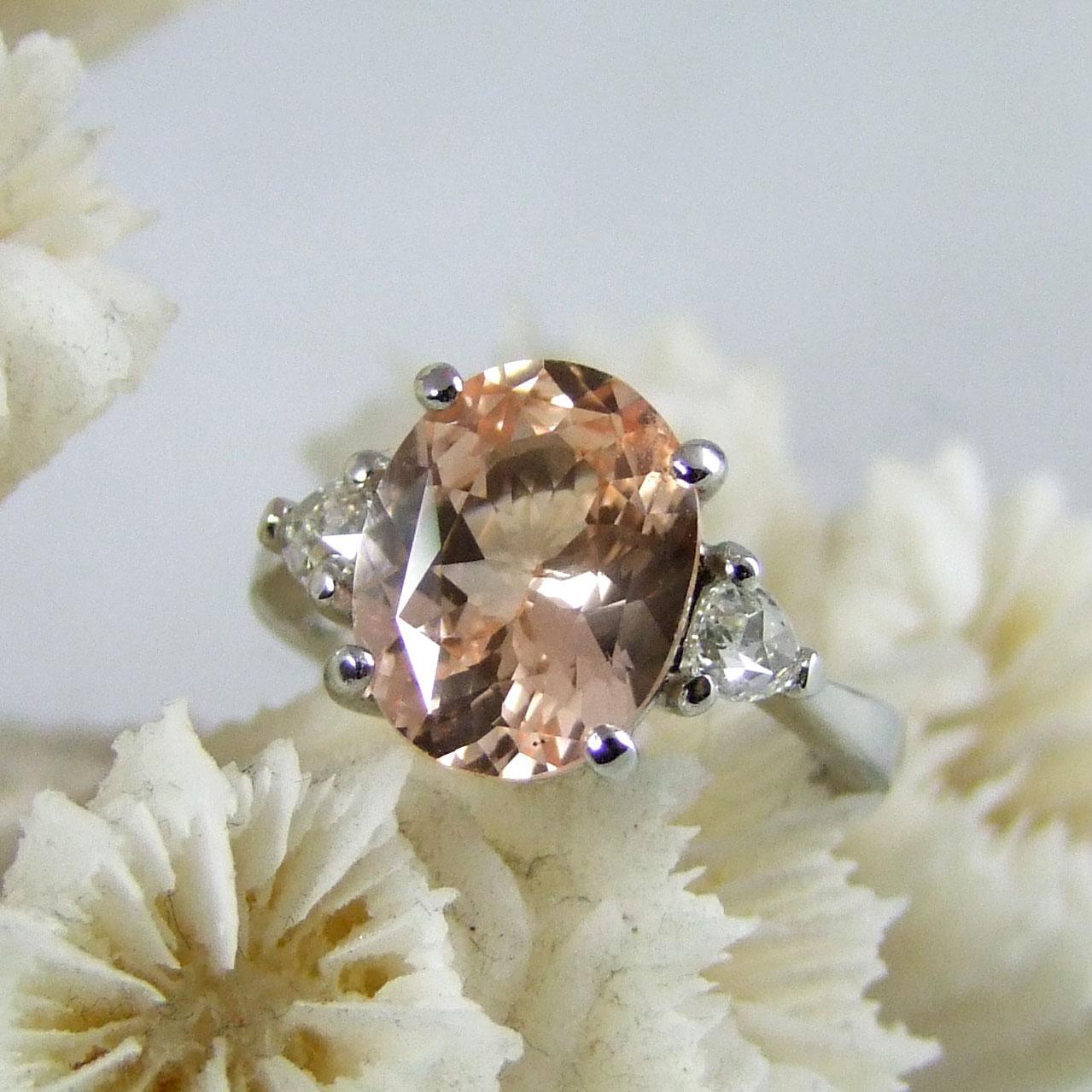 Handmade Peach Sapphire Diamond Ring